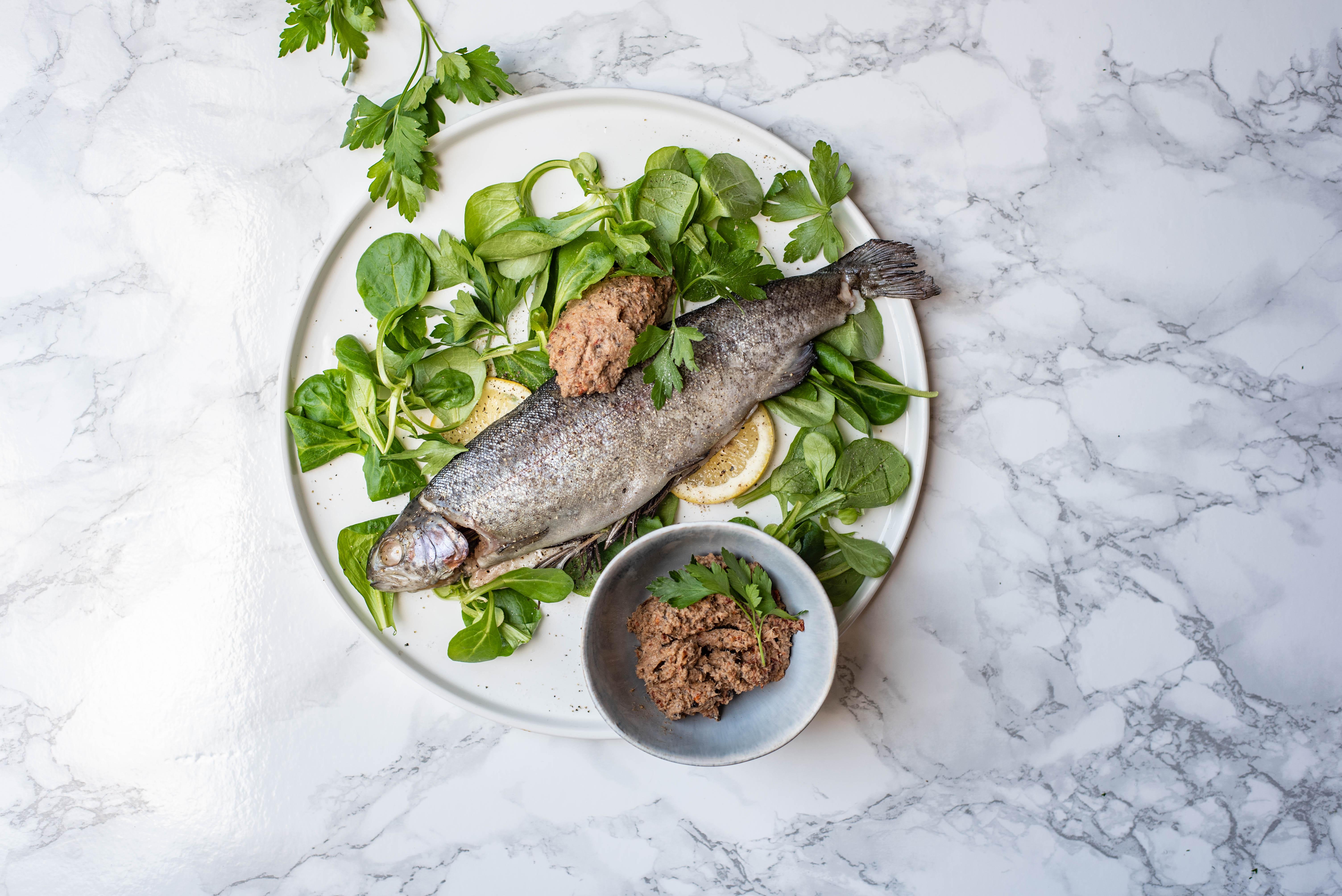 Gestoomde forel met tonijn tapenade