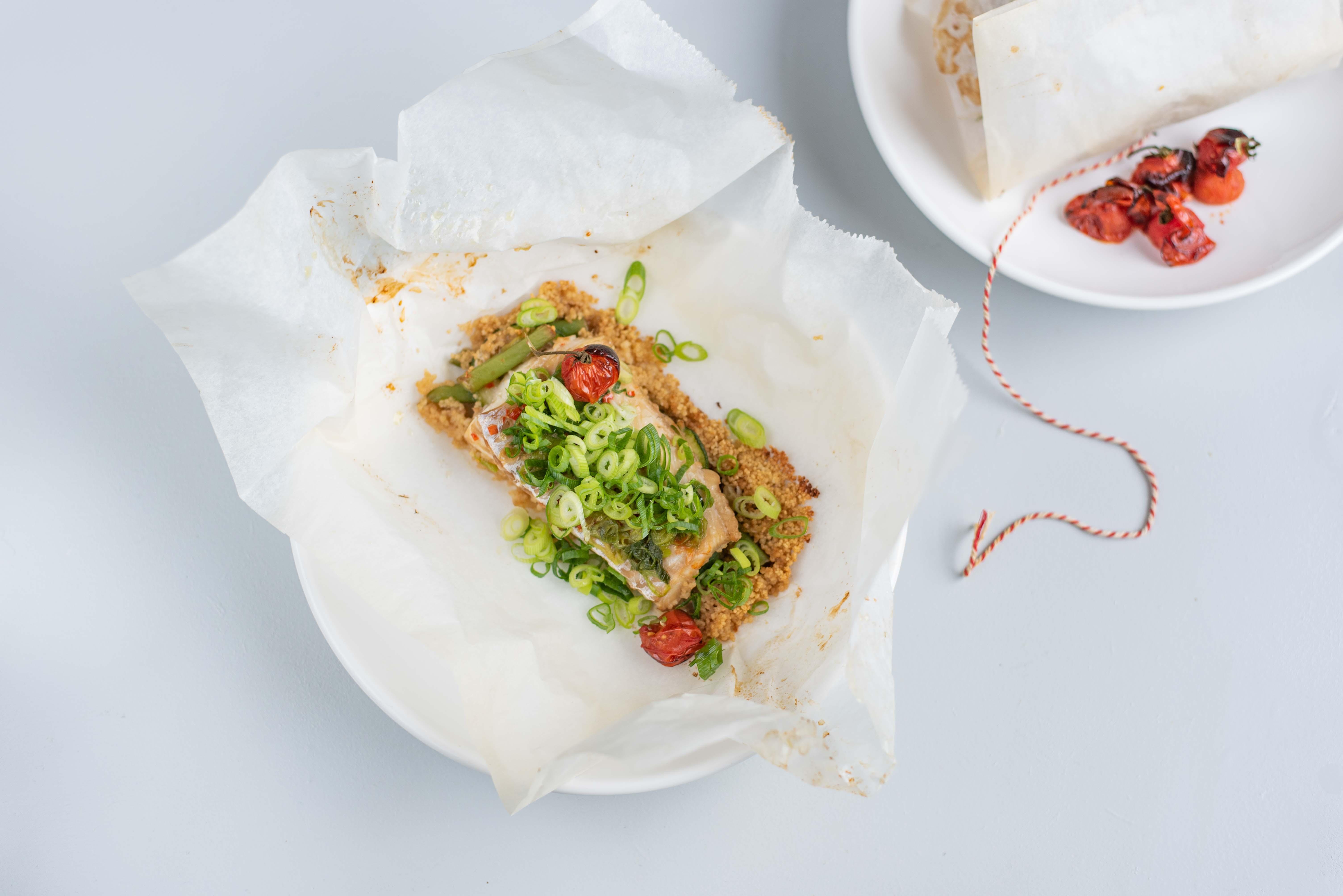 Oosters vispakketje met couscous