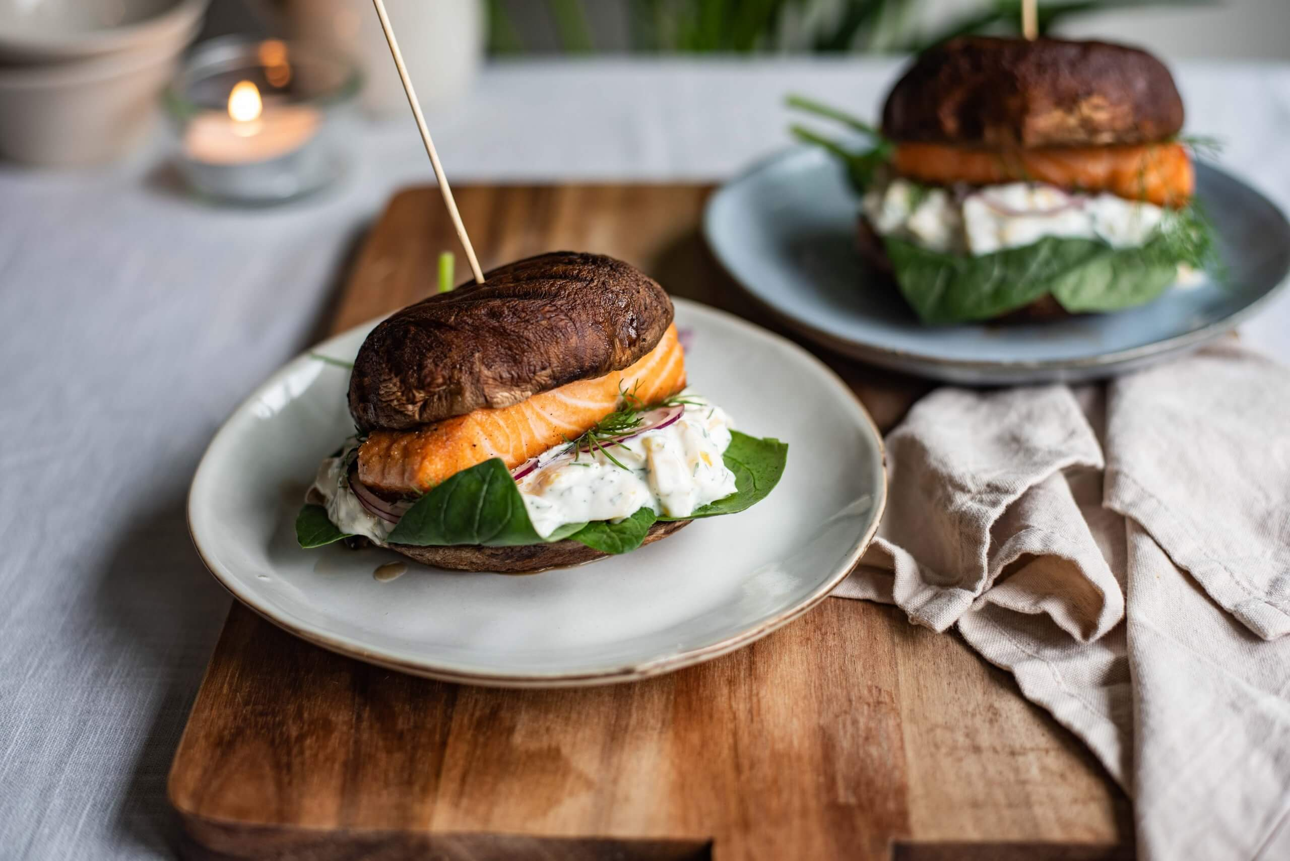 Portobelloburger met zalm