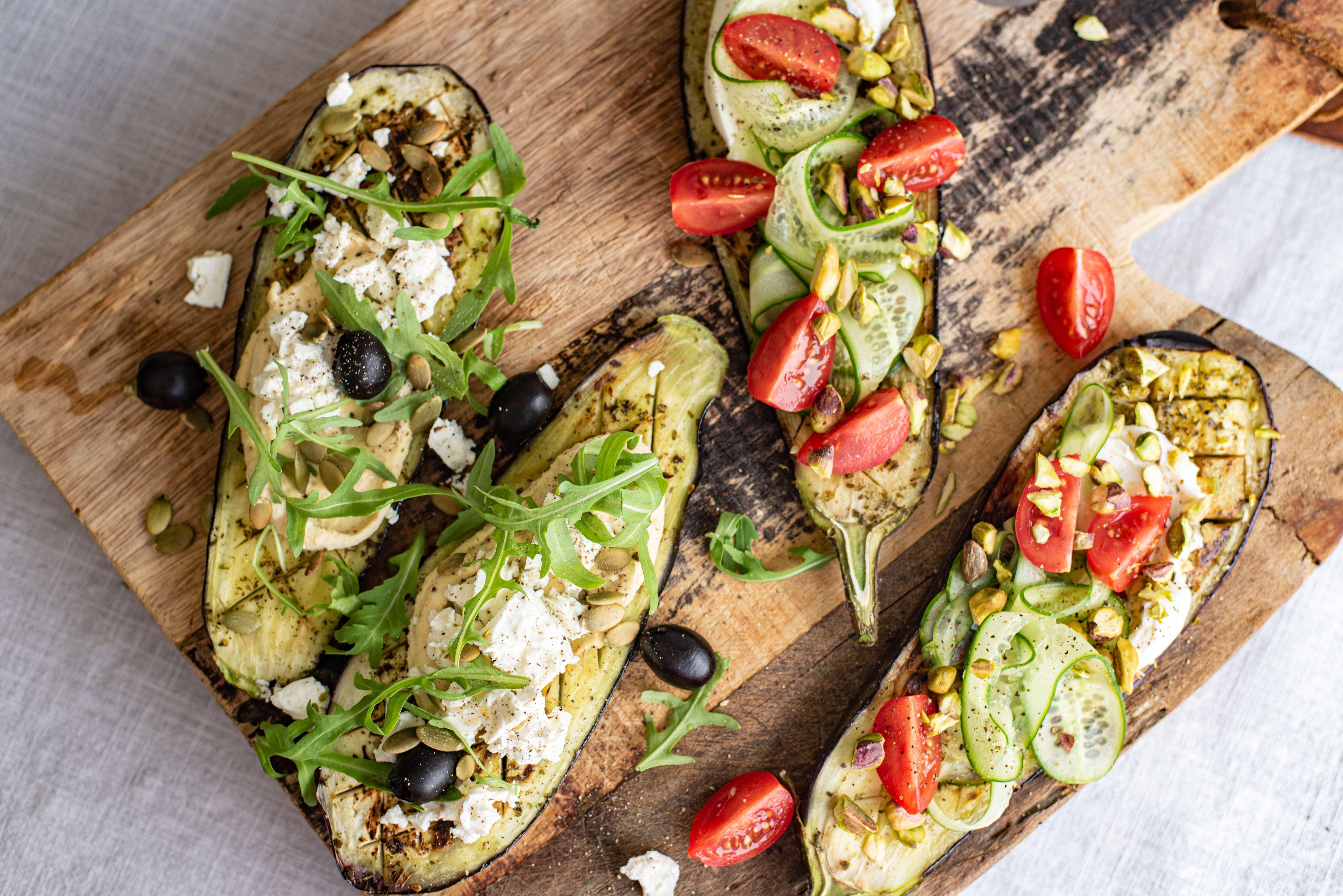 Aubergine-'pizza' met toppings