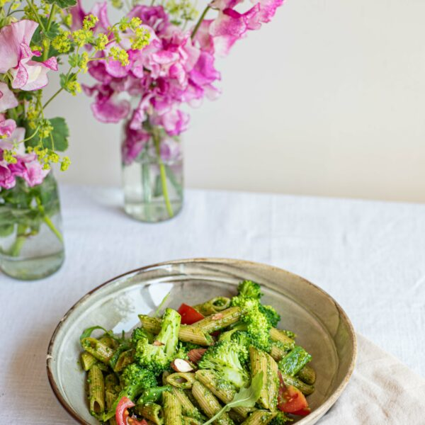 Pasta-pesto met snijbonen en broccoli